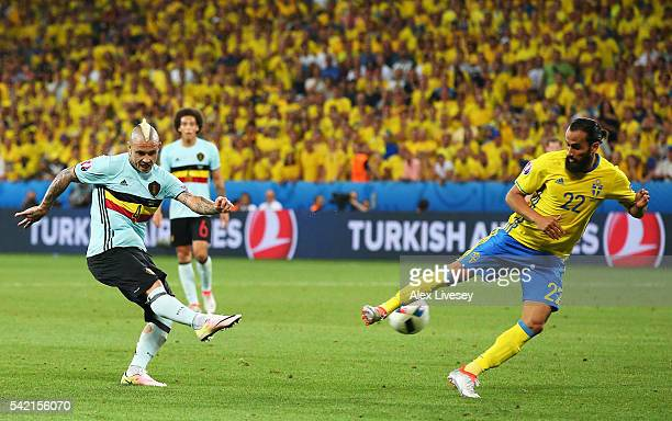 Radja Nainggolan of Belgium scores his team's first goal during the UEFA EURO 2016 Group E match between Sweden and Belgium at Allianz Riviera...