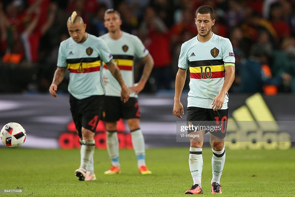 Radja Nainggolan of Belgium, Toby Alderweireld of Belgium Eden Hazard of Belgium disappointed during the UEFA EURO 2016 quarter final match between Wales and Belgium on July 2, 2016 at the Stade Pierre Mauroy in Lille, France.