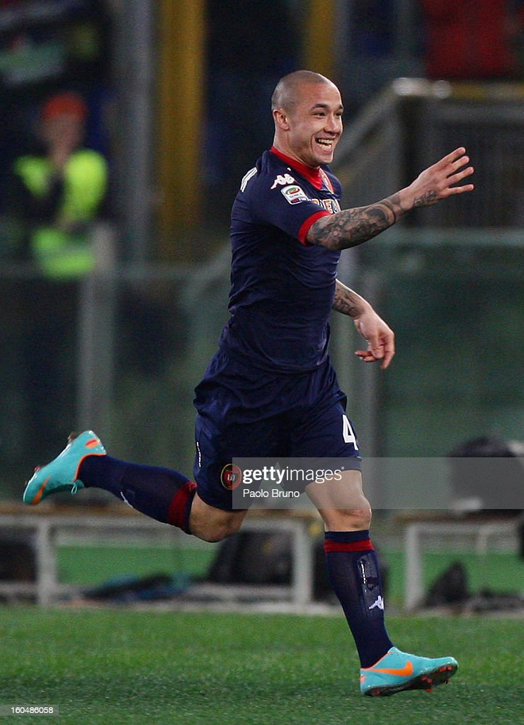 Radja Nainggolan of Cagliari Calcio celebrates after scoring the opening goal during the Serie A match between AS Roma and Cagliari Calcio at Stadio Olimpico on February 1, 2013 in Rome, Italy.