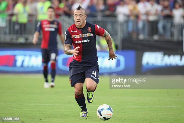Radja Nainggolan of Cagliari in action during the Serie A match between Cagliari Calcio and Calcio Catania at Stadio Sant'Elia on October 19 2013 in...