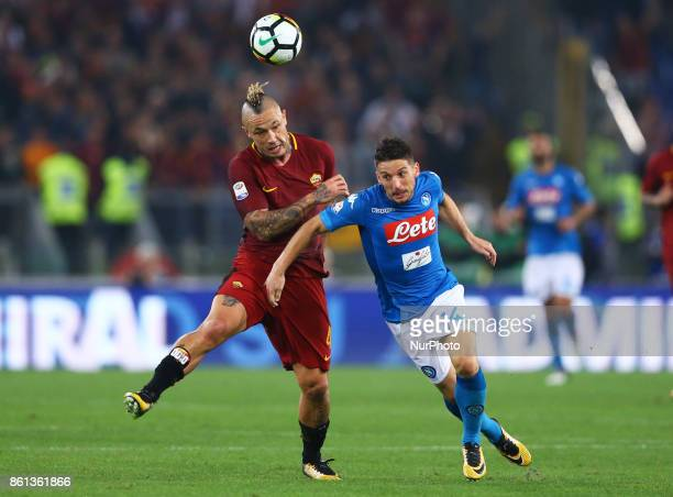 Radja Nainggolan of Roma and Dries Mertens of Napoli during the Italian Serie A football match AS Roma vs Napoli at the Olympic Stadium in Rome on...
