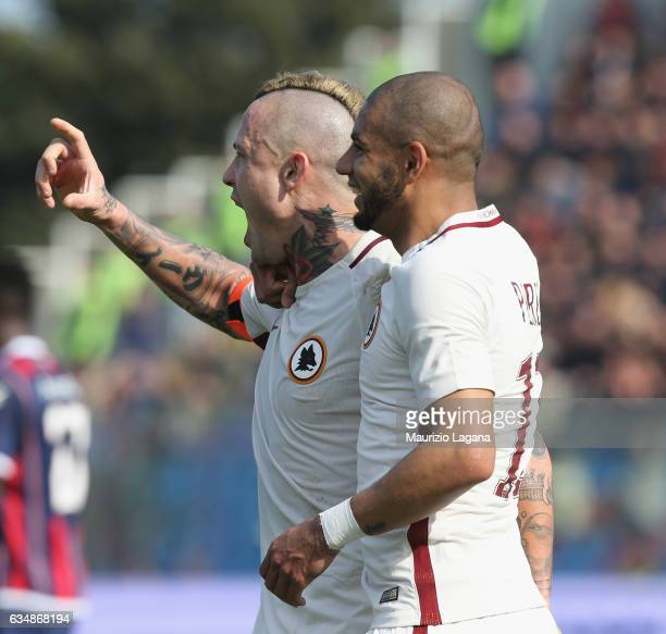 Radja Nainggolan of Roma celebrates after scoring his team's opening goal during the Serie A match between FC Crotone and AS Roma at Stadio Comunale...