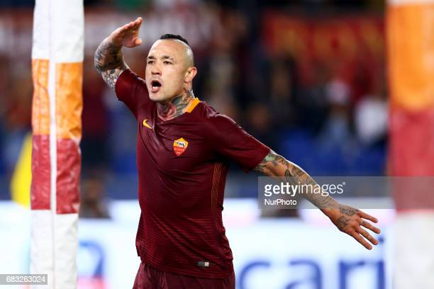Radja Nainggolan of Roma celebration at Olimpico Stadium in Rome Italy on May 14 2017