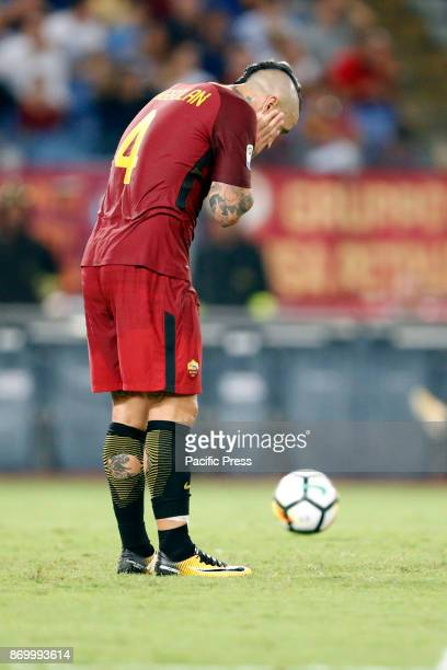 Radja Nainggolan of Roma during the Italian Serie A soccer match against Inter in Rome Inter defeating Roma 31