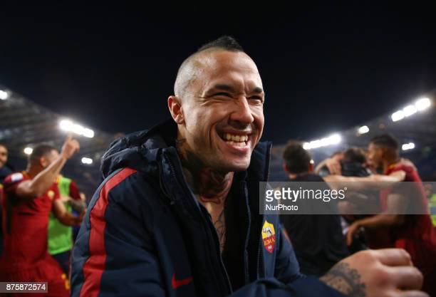 Radja Nainggolan of Roma greeting the supporters at the end of the match during the Italian Serie A football match AS Roma vs Lazio on November 18...