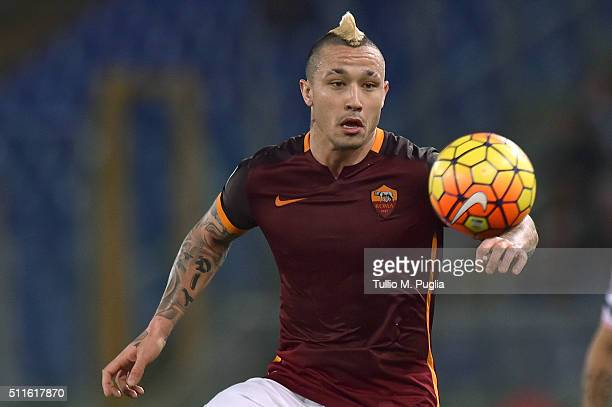 Radja Nainggolan of Roma in action during the Serie A match between AS Roma and US Citta di Palermo at Stadio Olimpico on February 21 2016 in Rome...