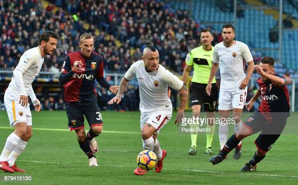 Radja Nainggolan of Roma in action during the Serie A match between Genoa CFC and AS Roma at Stadio Luigi Ferraris on November 26 2017 in Genoa Italy