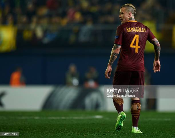 Radja Nainggolan of Roma looks on during the UEFA Europa League Round of 32 first leg match between Villarreal CF and AS Roma at Estadio de la...