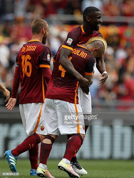 Radja Nainggolan with his teammate Antonio Rudiger of AS Roma celebrates after scoring the opening goal during the Serie A match between AS Roma and...