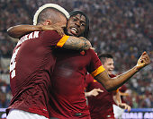 Radja Nainggolan with his teammate Gervinho of AS Roma celebrates after scoring the opening goal during the Serie A match between AS Roma and ACF...