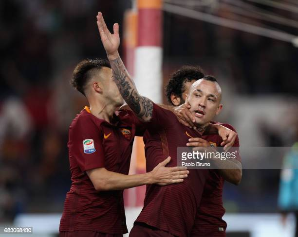 Radja Nainggolan with his teammate Stefan El Shaarawy and Mohamed Salah of AS Roma celebrates after scoring the team's third goal during the Serie A...