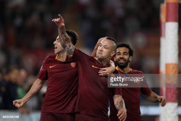 Radja Nainggolan with his teammate Stefan El Shaarawy of AS Roma celebrates after scoring the team's third goal during the Serie A match between AS...