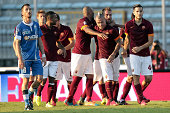 Radja Nainngolan of AS Roma celebrates after scoring a goal during the Serie A match between Empoli FC and AS Roma at Stadio Carlo Castellani on...