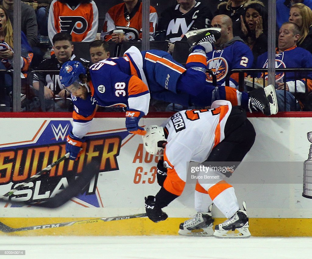 <a gi-track='captionPersonalityLinkClicked' href=/galleries/search?phrase=Radko+Gudas&family=editorial&specificpeople=5648763 ng-click='$event.stopPropagation()'>Radko Gudas</a> #3 of the Philadelphia Flyers gets under <a gi-track='captionPersonalityLinkClicked' href=/galleries/search?phrase=Bracken+Kearns&family=editorial&specificpeople=3933357 ng-click='$event.stopPropagation()'>Bracken Kearns</a> #38 of the New York Islanders during the third period at the Barclays Center on April 10, 2016 in the Brooklyn borough of New York City.