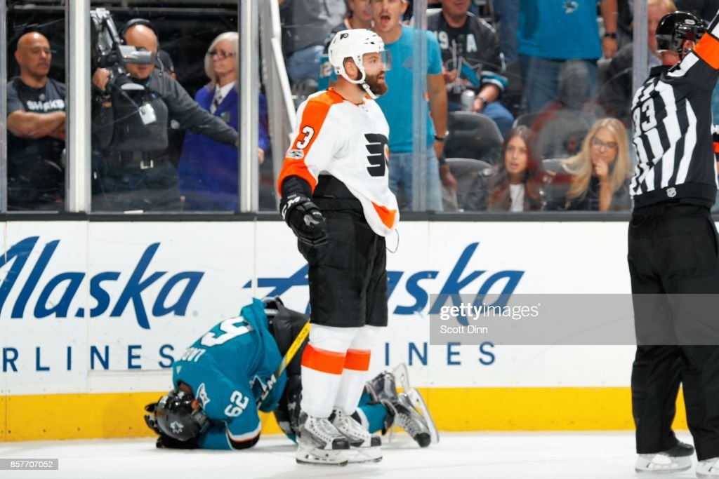 Radko Gudas #3 of the Philadelphia Flyers reacts after boarding Kevin Labanc #62 of the San Jose Sharks during a NHL game at SAP Center at San Jose on October 4, 2017 in San Jose, California.