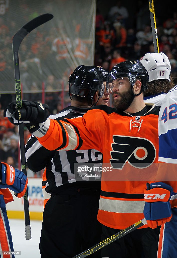 <a gi-track='captionPersonalityLinkClicked' href=/galleries/search?phrase=Radko+Gudas&family=editorial&specificpeople=5648763 ng-click='$event.stopPropagation()'>Radko Gudas</a> #3 of the Philadelphia Flyers reacts following a stoppage in play against the New York Islanders on January 9, 2016 at the Wells Fargo Center in Philadelphia, Pennsylvania.