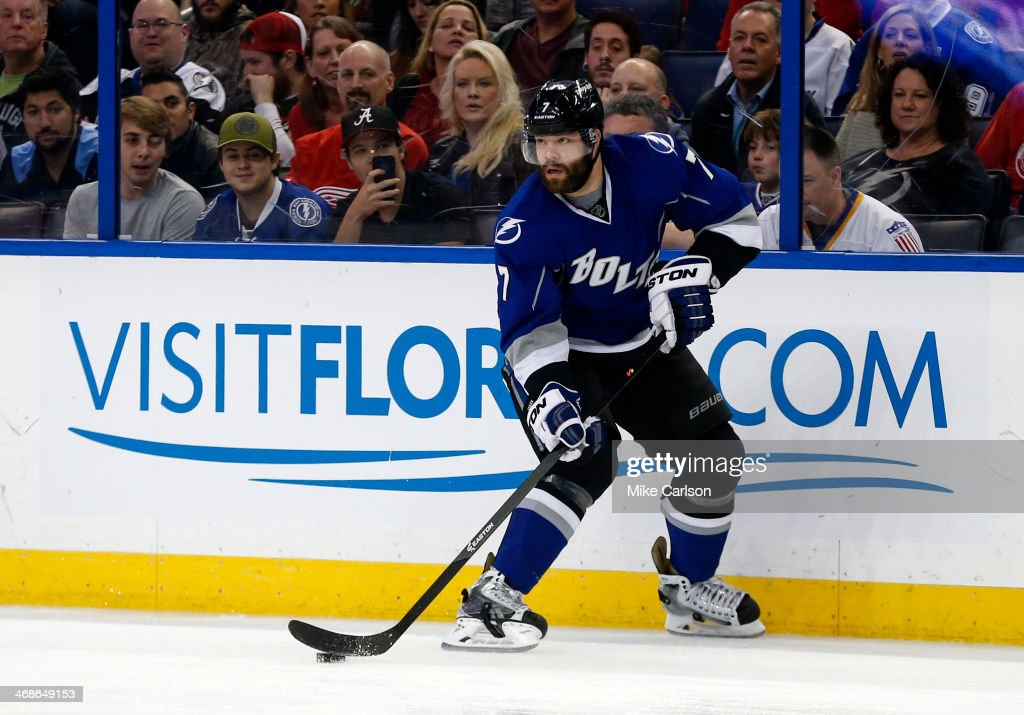 <a gi-track='captionPersonalityLinkClicked' href=/galleries/search?phrase=Radko+Gudas&family=editorial&specificpeople=5648763 ng-click='$event.stopPropagation()'>Radko Gudas</a> #7 of the Tampa Bay Lightning against the Detroit Red Wings at the Tampa Bay Times Forum on February 8, 2014 in Tampa, Florida.