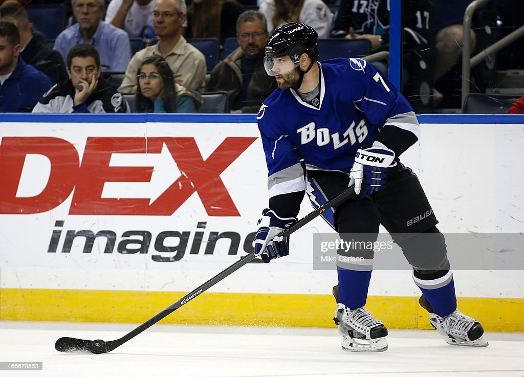 <a gi-track='captionPersonalityLinkClicked' href=/galleries/search?phrase=Radko+Gudas&family=editorial&specificpeople=5648763 ng-click='$event.stopPropagation()'>Radko Gudas</a> #7 of the Tampa Bay Lightning against the San Jose Sharks at the Tampa Bay Times Forum on January 18, 2014 in Tampa, Florida.