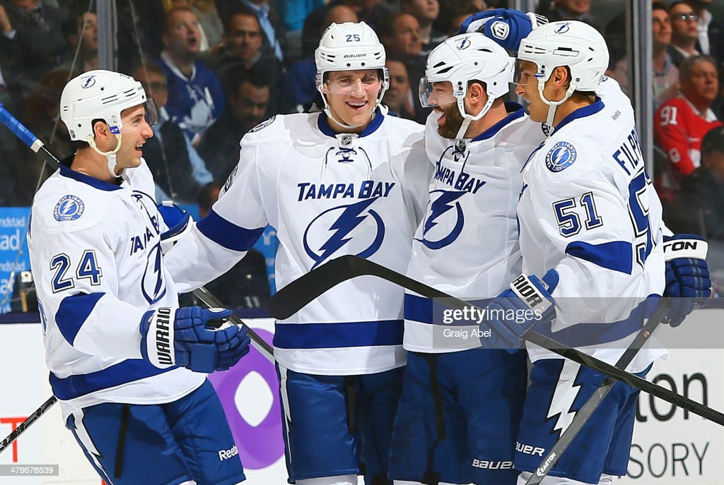 <a gi-track='captionPersonalityLinkClicked' href=/galleries/search?phrase=Radko+Gudas&family=editorial&specificpeople=5648763 ng-click='$event.stopPropagation()'>Radko Gudas</a> #7 of the Tampa Bay Lightning celebrates his goal against the Toronto Maple Leafs during NHL game action March 19, 2014 at the Air Canada Centre in Toronto, Ontario, Canada.