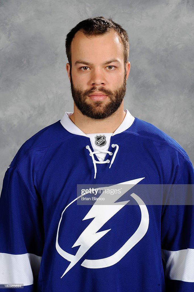 <a gi-track='captionPersonalityLinkClicked' href=/galleries/search?phrase=Radko+Gudas&family=editorial&specificpeople=5648763 ng-click='$event.stopPropagation()'>Radko Gudas</a> of the Tampa Bay Lightning poses for his official headshot for the 2013-2014 season on September 11, 2013 at the Tampa Bay Times Forum In Tampa Bay, Florida.