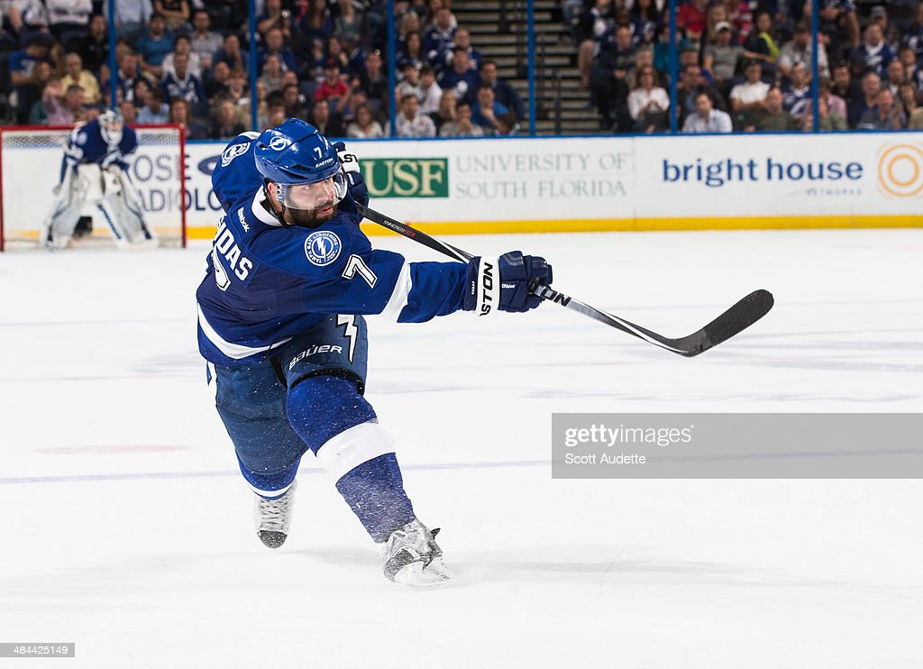 <a gi-track='captionPersonalityLinkClicked' href=/galleries/search?phrase=Radko+Gudas&family=editorial&specificpeople=5648763 ng-click='$event.stopPropagation()'>Radko Gudas</a> #7 of the Tampa Bay Lightning skates against the Calgary Flames at the Tampa Bay Times Forum on April 3, 2014 in Tampa, Florida.