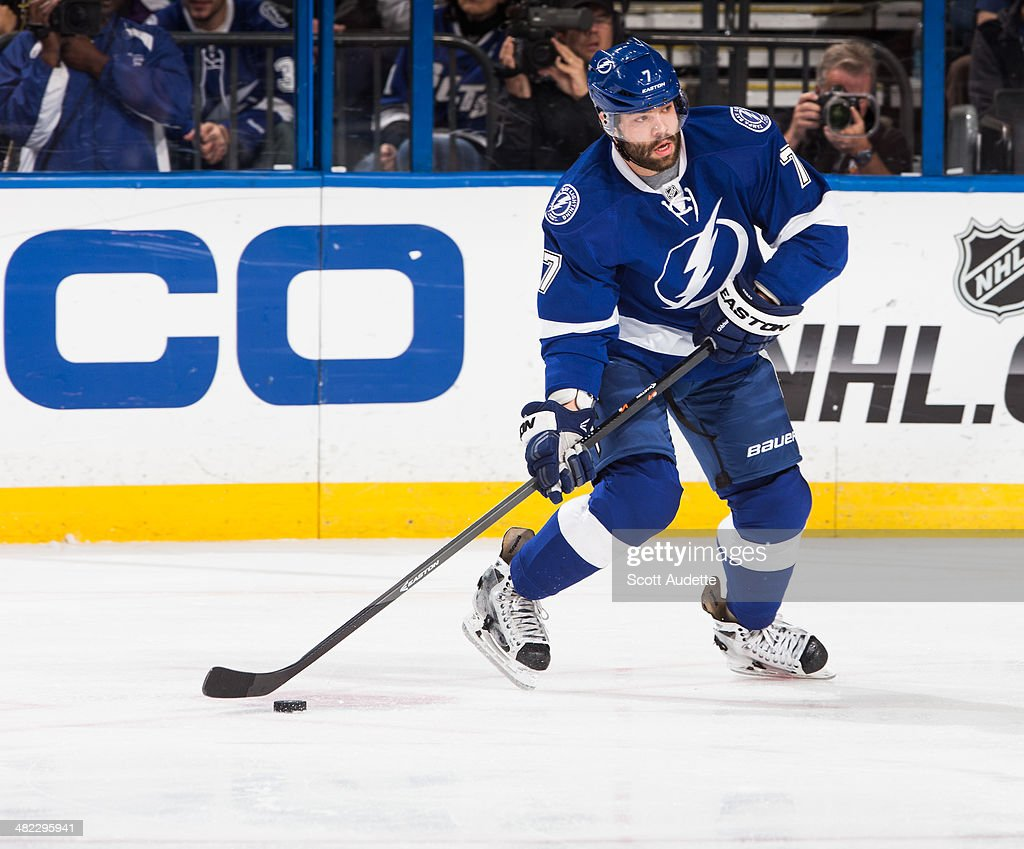 <a gi-track='captionPersonalityLinkClicked' href=/galleries/search?phrase=Radko+Gudas&family=editorial&specificpeople=5648763 ng-click='$event.stopPropagation()'>Radko Gudas</a> #7 of the Tampa Bay Lightning skates against the New York Islanders at the Tampa Bay Times Forum on March 27, 2014 in Tampa, Florida.