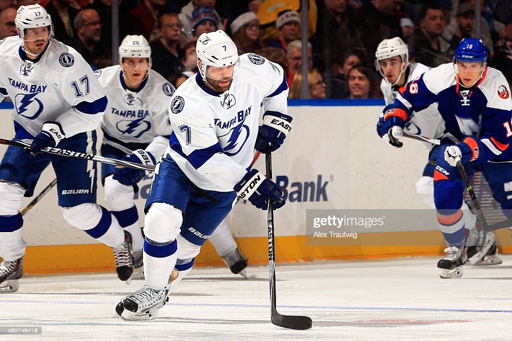<a gi-track='captionPersonalityLinkClicked' href=/galleries/search?phrase=Radko+Gudas&family=editorial&specificpeople=5648763 ng-click='$event.stopPropagation()'>Radko Gudas</a> #7 of the Tampa Bay Lightning skates with the puck against the New York Islanders during a game at the Nassau Veterans Memorial Coliseum on December 20, 2014 in Uniondale, New York.