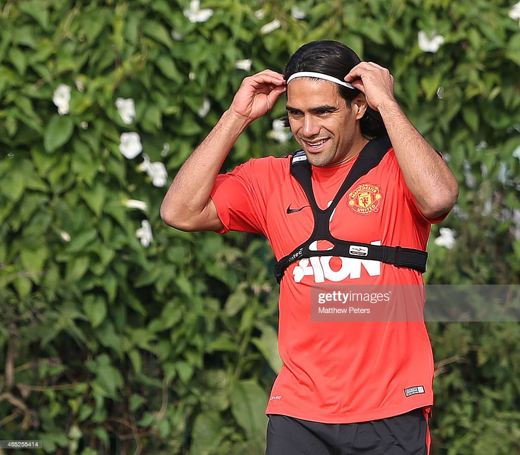 Radomel Falcao of Manchester United in action during a first team training session at Aon Training Complex on September 11, 2014 in Manchester, England.