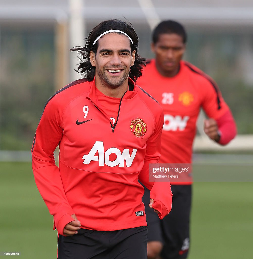 Radomel Falcao of Manchester United in action during a first team training session at Aon Training Complex on September 19, 2014 in Manchester, England.