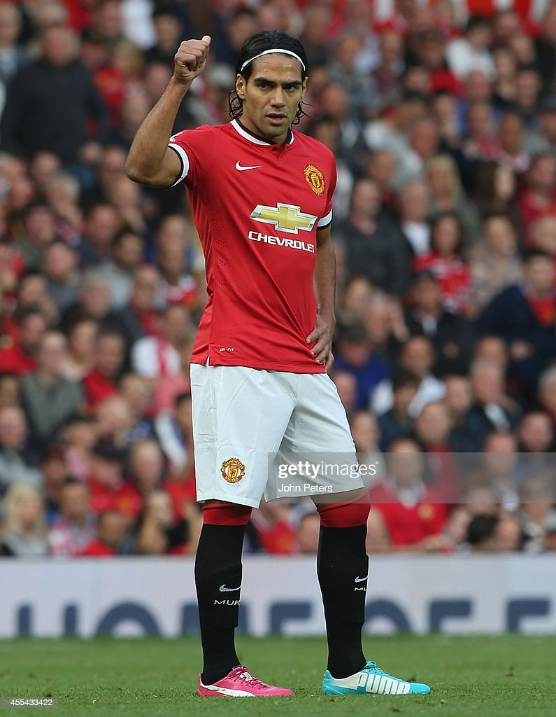 Radomel Falcao of Manchester United in action during the Barclays Premier League match between Manchester United and Queens Park Rangers at Old Trafford on September 14, 2014 in Manchester, England.