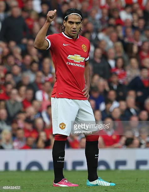 Radomel Falcao of Manchester United in action during the Barclays Premier League match between Manchester United and Queens Park Rangers at Old...