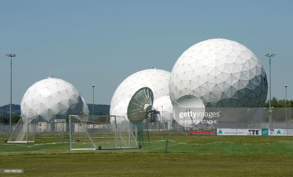 Radomes of the former monitoring base of the US intelligence organization National Security Agency in Bad Aibling southern Germany are pictured on...