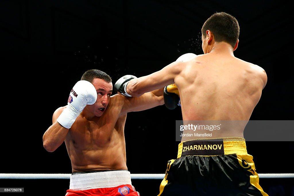 Radoslav Dimitrov Pantaleev of British Lionhearts (L) in action against Nurdaulet Zharmanov of Astana Arlans (R) in the semi-final of the World Series of Boxing between the British Lionhearts and Kazakhstan at York Hall on May 27, 2016 in London, England.