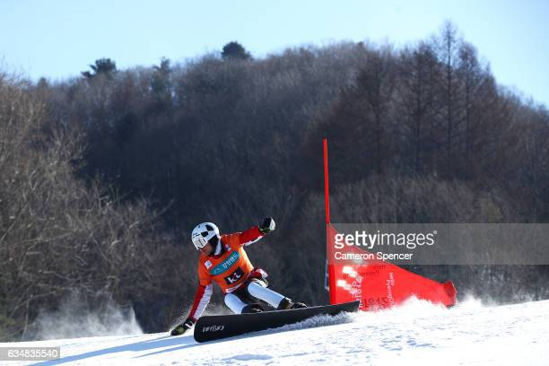 Radoslav Yankov of Bulgaria competes in the FIS Freestyle World Cup Parallel Giant Slalom Mens Final at Bokwang Snow Park on February 12 2017 in...
