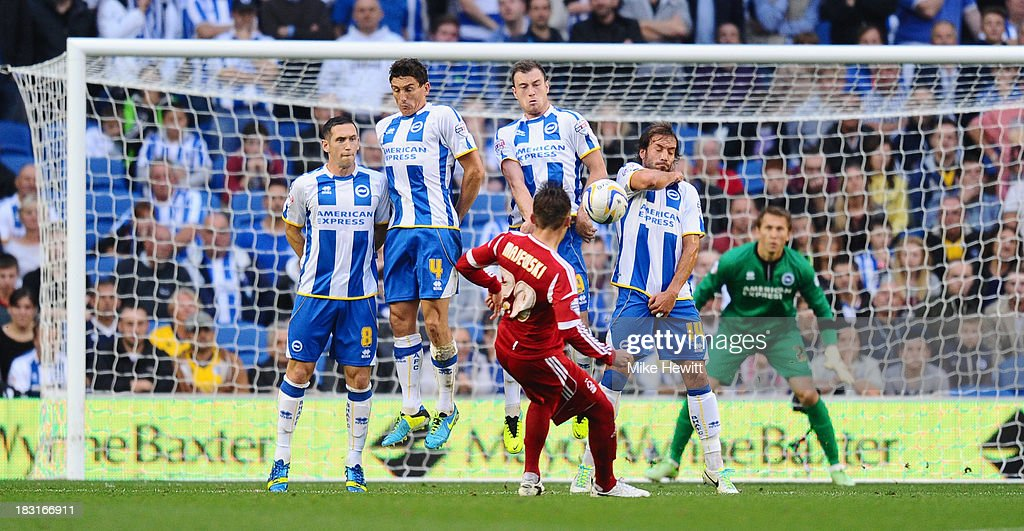 Radoslaw Majewski of Nottingham Forest puts his free kick into the Brighton wall during the Sky Bet Championship match between Brighton & Hove Albion and Nottingham Forest at Amex Stadium on October 5, 2013 in Brighton, England.