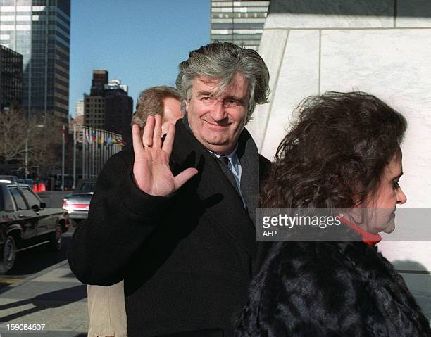 Radovan Karadzic Bosnian Serb warlord and leader of the Serbrun part of Bosnia during the 19921995 war waves 04 February 1993 to the press while...