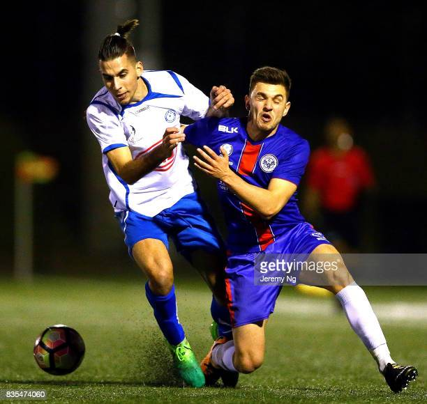 Radovan Pavicevic of Sydney Olympic and Nikola Taneski of Manly United challenge for the ball during the NSW NPL 1 Elimination Final between Manly...