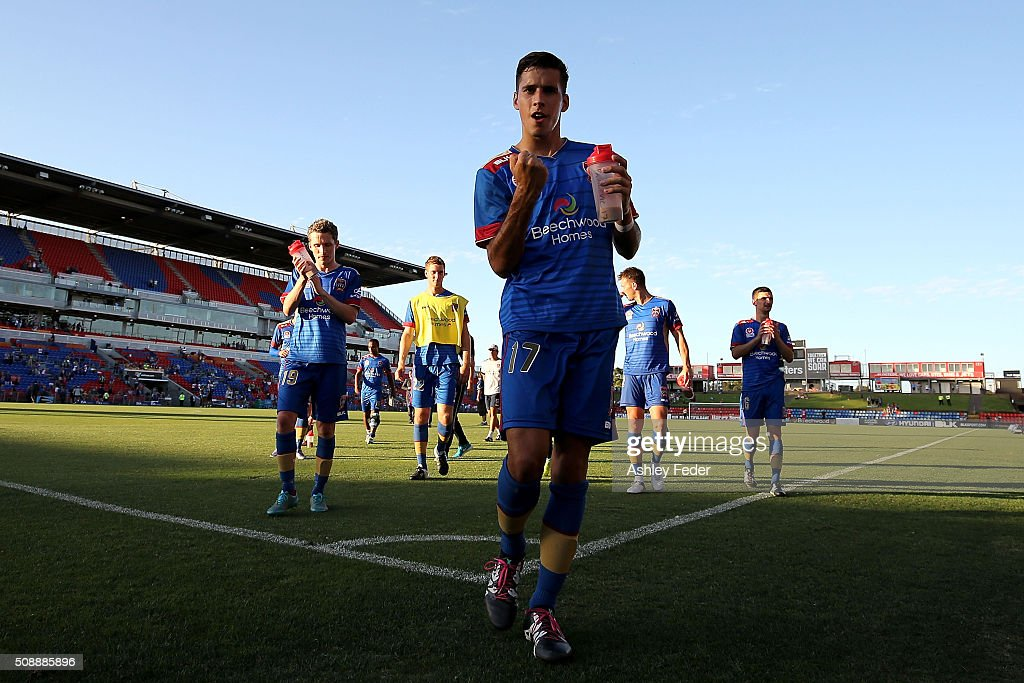 Radovan Pavicevic of the Jets celebrates the win during the round 18 A-League match between the Newcastle Jets and Melbourne City FC at Hunter Stadium on February 7, 2016 in Newcastle, Australia.