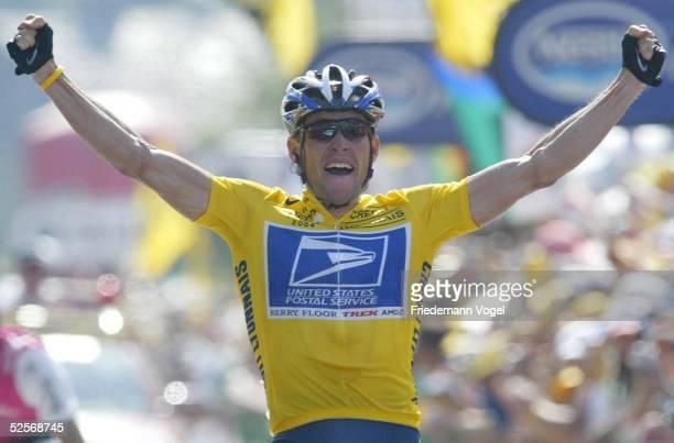 Radsport Tour de France 2004 17 Etappe / Bourg d'Oisans Le GrandBornand Tagessieger Lance ARMSTRONG / US Postal / USA 220704