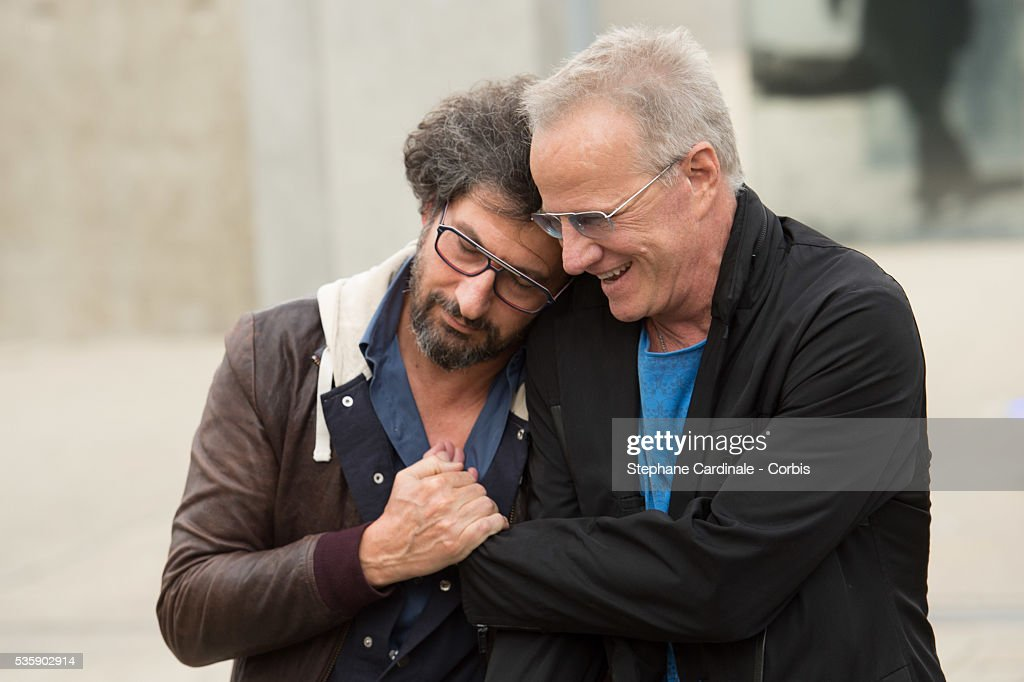 Radu Mihaileanu and Christophe Lambert attend the Remake of the 1st Movie of the Lumiere Brothers , during the 5th Lumiere Film Festival, in Lyon.