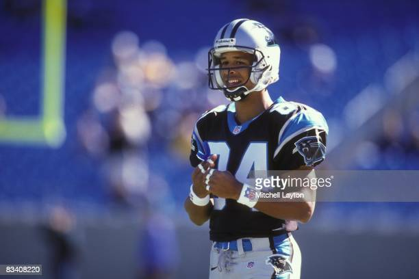 Rae Carruth of the Carolina Panthers before a NFL football game against the Oakland Raiders on November 2 1997 at Ericsson Stadium in Charlotte North...