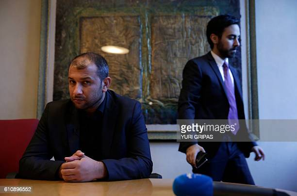 Raed Saleh head of the white helmets of Syrian civil defence speaks during an interview for AFP at the Carnegie Endowment for International Peace in...
