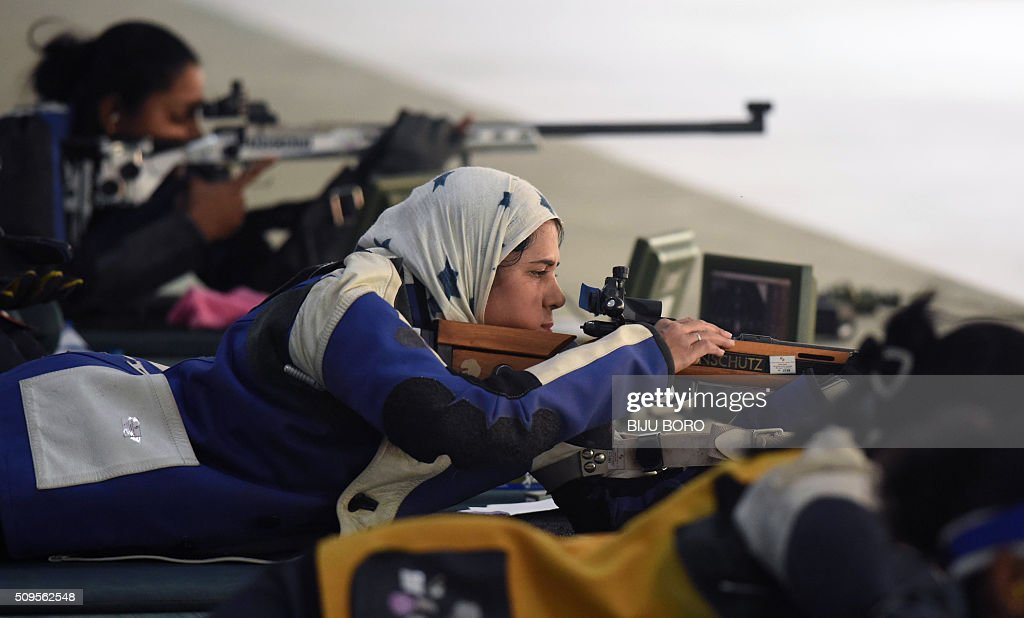 Raees Nadira of Pakistan prepares to shoot as she takes part in the final of the 50m free rifle event at a shooting range in Guwahati at the 12th South Asian Games 2016 at Indira Gandhi Athletics Stadium in Guwahati on February 11, 2016. AFP PHOTO/ Biju BORO / AFP / BIJU BORO