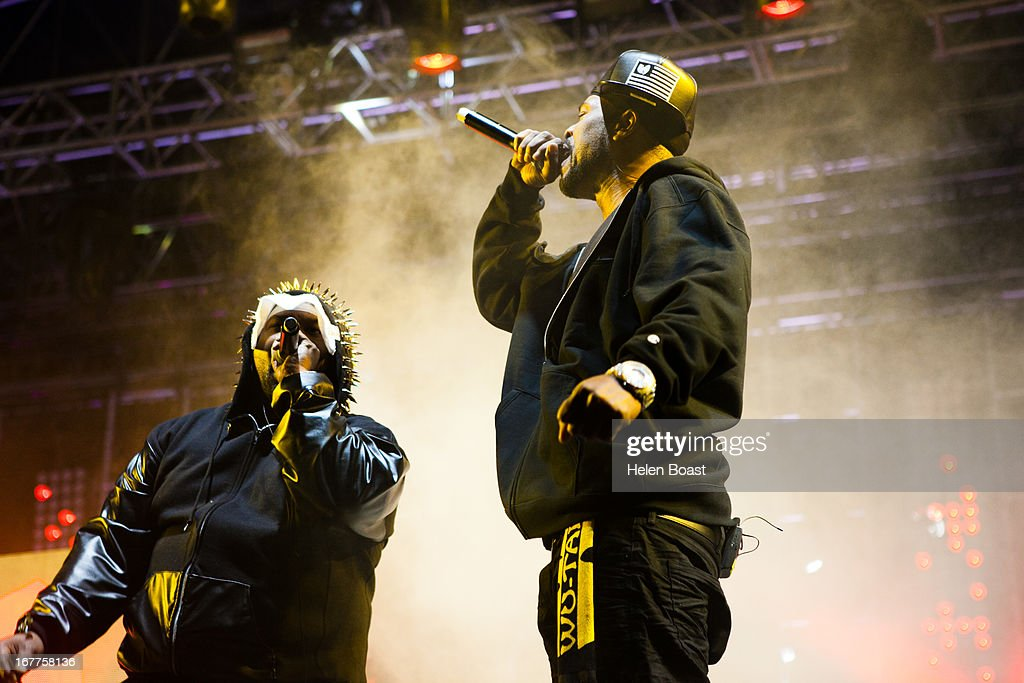 Raekwon and Method Man of Wu Tang Clan performs on stage at 2013 Coachella Music Festival on April 21, 2013 in Indio, California.