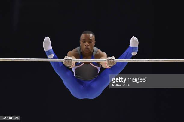 Raekwon Baptiste of City of Birmingham Gym competes on the Horizontal Bar during the British Gymnastics Championships at the Echo Arena on March 24...