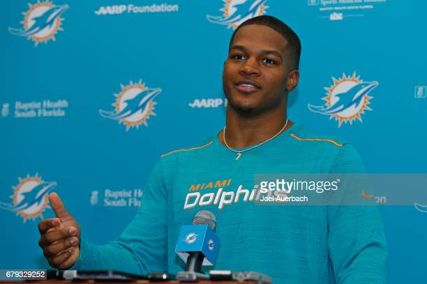 Raekwon McMillan of the Miami Dolphins talks to the media during the rookie minicamp on May 5 2017 at the Miami Dolphins training facility in Davie...