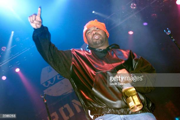 Raekwon of the WuTang Clan performs during a party to celebrate the release of their new album 'Iron Flag' at the Hammerstein Ballroom in New York...