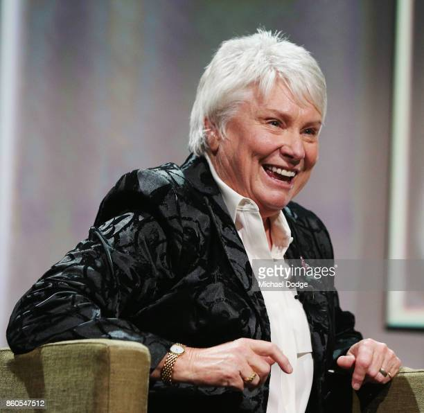Raelene Boyle reacts on stage after being announced The Legend inductee at the Sport Australia Hall of Fame Annual Induction and Awards Gala Dinner...