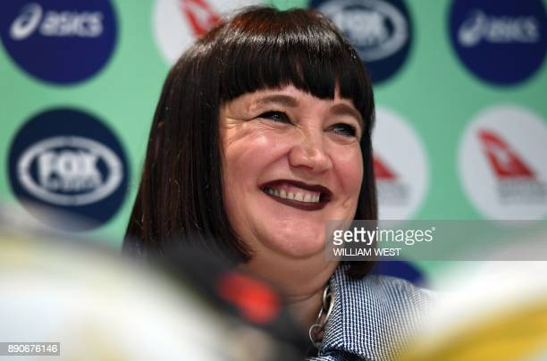 Raelene Castle speaks during a press conference after becoming Rugby Australia's new chief executive making her the first woman to ever oversee the...