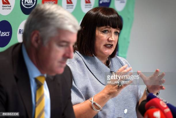 Raelene Castle speaks during a press conference with Rugby Australia chairman Cameron Clyne after becoming Rugby Australia's new chief executive...